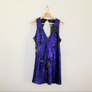 Shinestar Black Blue Sequins NWT New Party Holiday Mini Dress Backless Large L